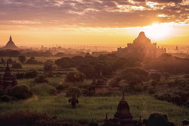 Zoom alongside the sandy paths of Bagan's Archaeological Zone