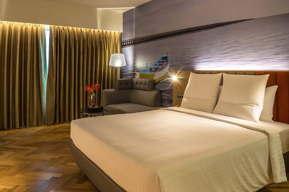 Hotel room Novotel Varun Vijayawada at night