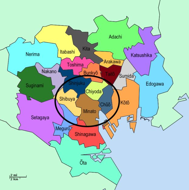 Map of Tokyo Wards
