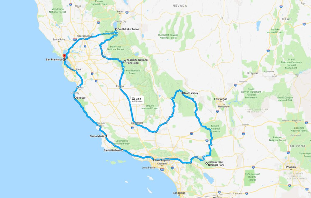 Map of our full street journey in California