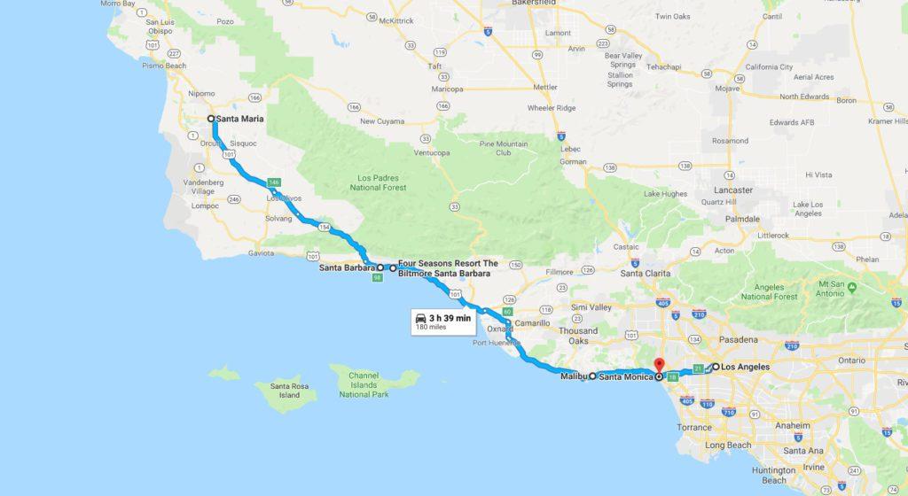 Map of the California Coast from Santa Maria to Los Angeles