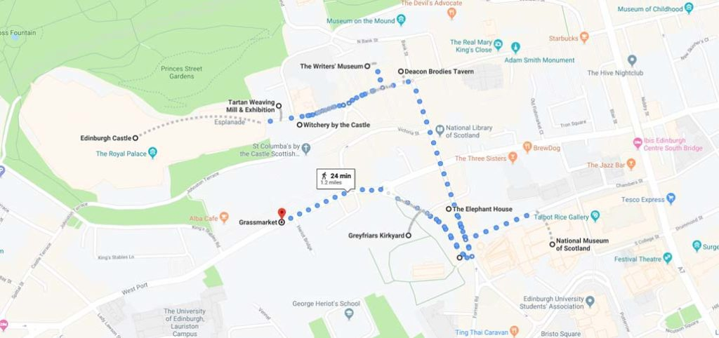Edinburgh map route