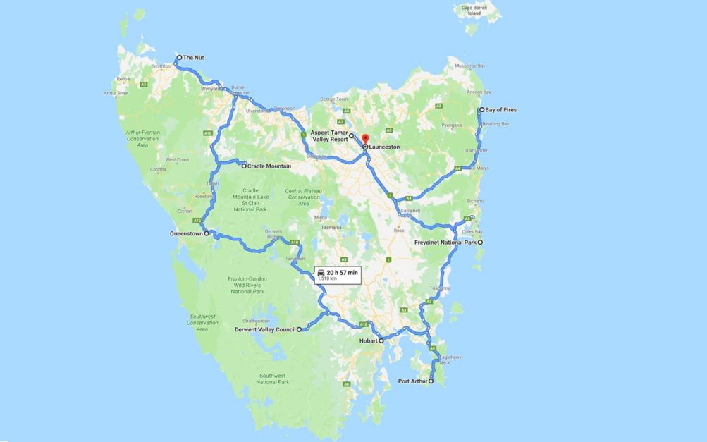 Things to do in Tasmania Map