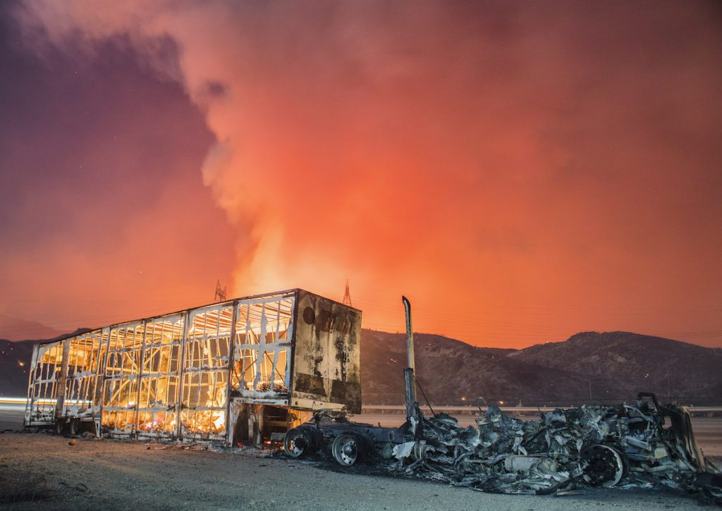 A truck off Interstate 15 destroyed by the Blue Cut Fire, August 2016.