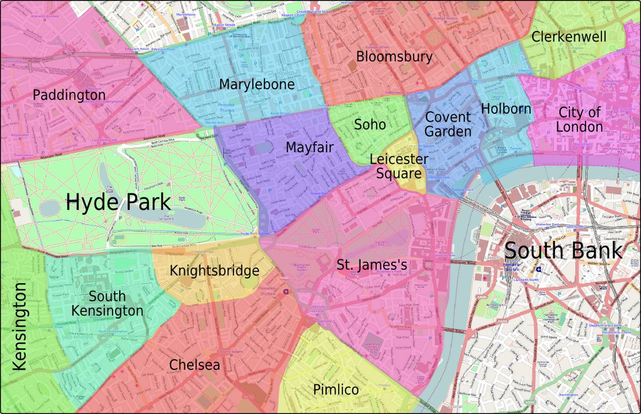 Where to stay in London neighbourhood map
