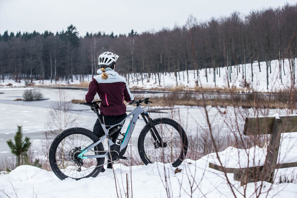 Women's Turbo LEvo, Trail Riding in the Snow, Annika Langvad