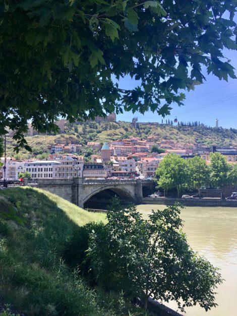 looking at Mtkvari River in Tbilisi