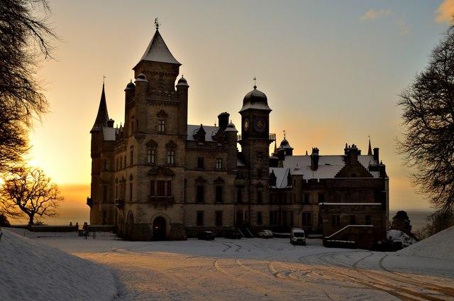 Dunrobin Castle in snow