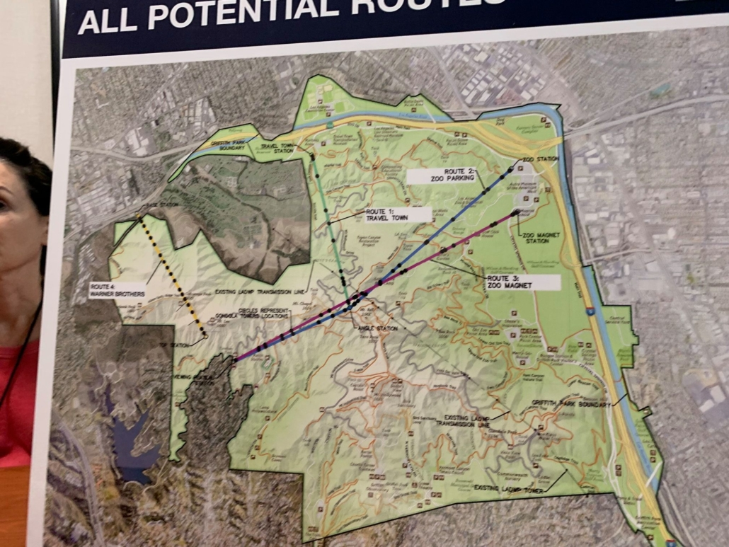 an image of a map of the proposed routes for the griffith park aerial tramway