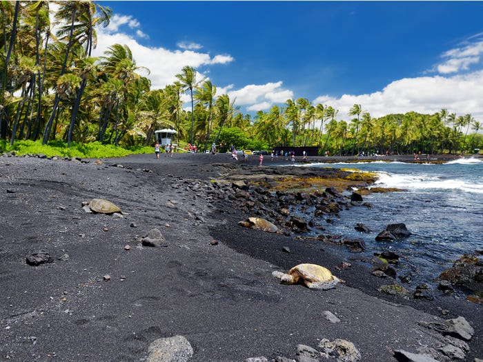 Black sand beach Punalu'u Hawaii USA